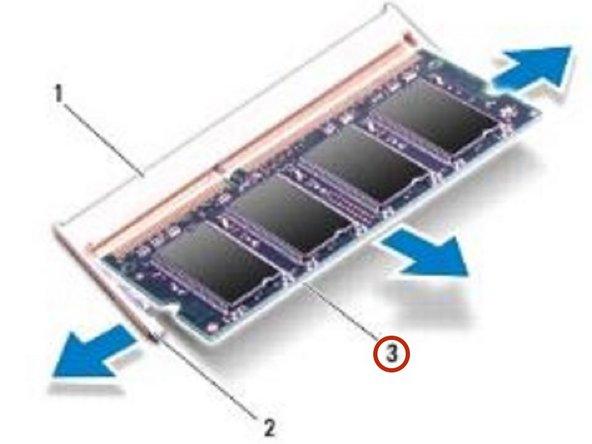 Slide the memory module firmly into the connector at a 45-degree angle, and press the memory module down until it clicks into place. If you do not hear the click, remove the memory module and reinstall it.