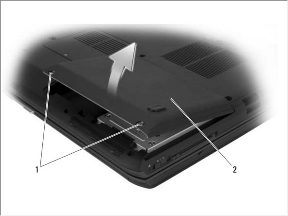 Loosen the two captive screws and remove the hard-drive bay cover.