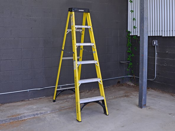 Set up a ladder in a level place outside that you don't mind getting wet.