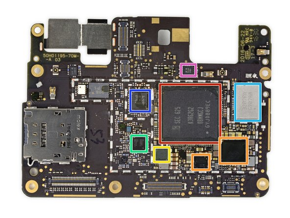 Chips on the front of the motherboard: