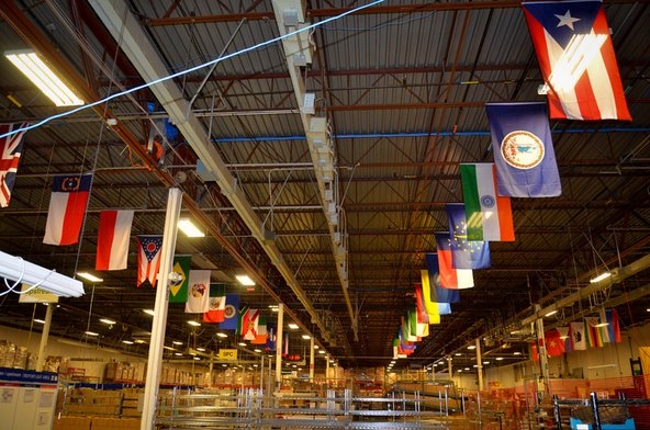 Flags at the Recellular warehouse