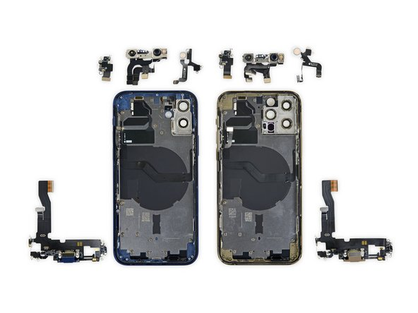 We're getting down to the bare necessities with the Lightning connector assemblies, Face ID, flash modules, and more—most of which look to be identical across models, save for some slight ribbon cable detours.