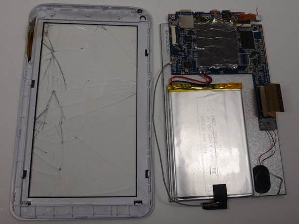Replace the broken front touch screen and casing with a new one.