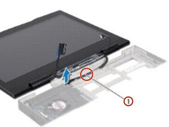 Gently slide the Mini-Card antenna cables out through the slot on the computer base.