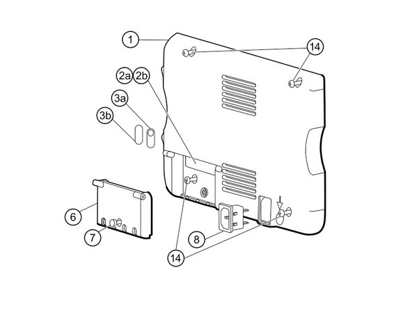 Remove the four Phillips #2 screws (labeled 14 in the service manual) from the rear housing.