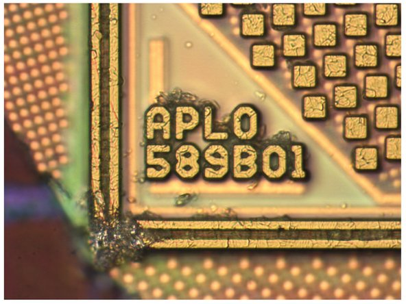 Image 1/1: Samsung isn't completely absent in the A6, though. The Apple A6—labeled [guide|10525|APL0598|stepid=38294] on the package marks and APL0589B01 on the inside—is fabricated by Samsung on their 32 nm [http://en.wikipedia.org/wiki/CMOS|CMOS] process and measures 9.70 mm x 9.97 mm.