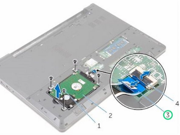 Slide the hard-drive assembly in the computer base and align the screw holes on the hard-drive assembly with the screw holes on the computer base.