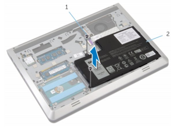Replace the screws that secure the battery to the base frame.