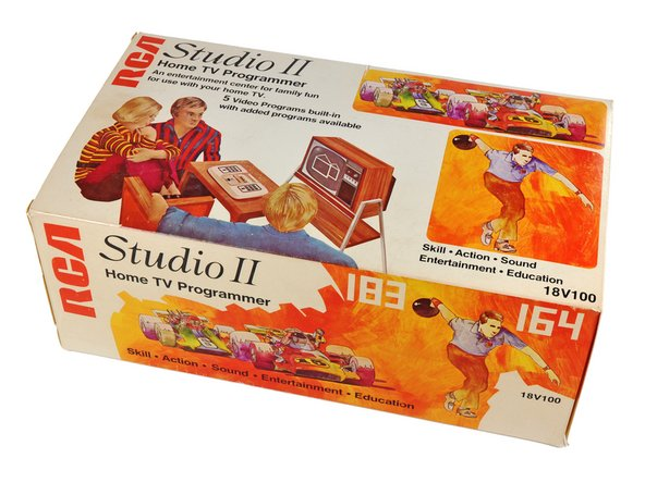 The Studio II came with five games preinstalled and also had a slot for external cartridges, each one setting you back about $20 in 1977 ($70 dollars today).