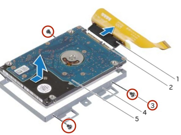 Remove the screws that secure the secondary hard-drive to the secondary  hard-drive bracket.