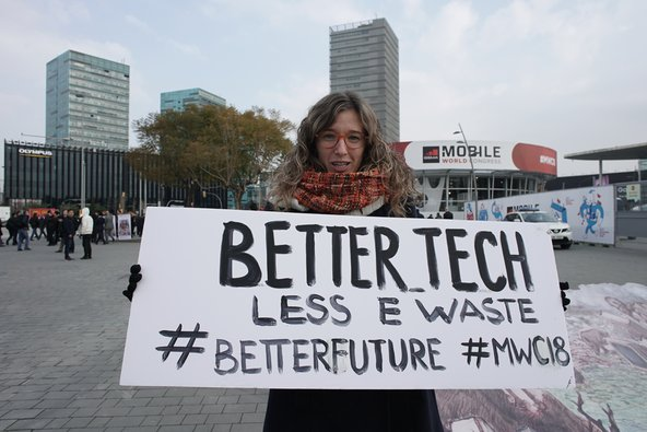 E-waste activists campaigning at Mobile World Congress