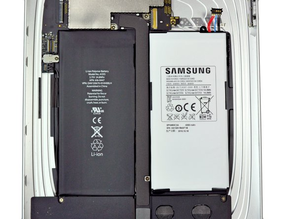 Image 3/3: Weighing in at 81 grams, the Galaxy Tab's battery is about 55% the weight and 60% the capacity of the iPad's [guide|2183|hulk|stepid=11203] of a battery.