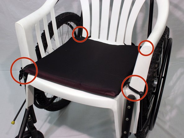 Place the cushion on top of the lawn chair seat and tie each of the 4 straps to the edge of the chair