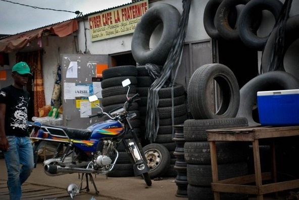 Roadside repair shop in Cameroon