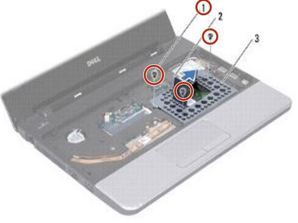 Replace the three screws that secure the hard drive assembly to the computer base.