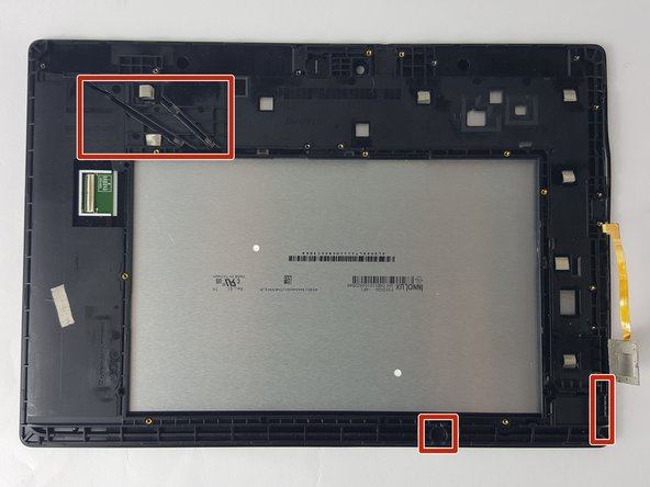Parts of the motherboard are secured to the frame of the tablet with adhesive. Gently pry up to remove from the tablet.