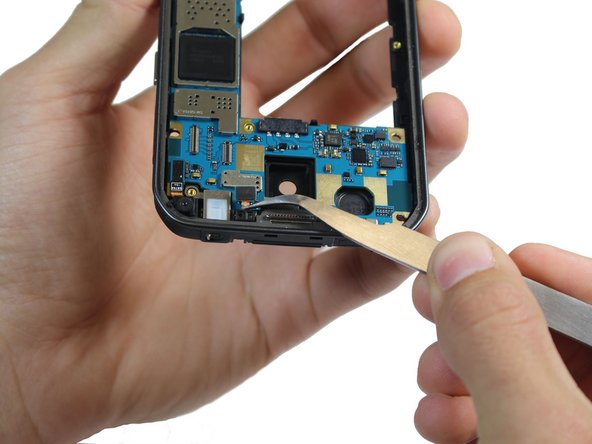 Use tweezers to gently pull the proximity/light sensor out.