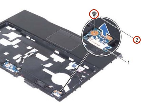 Replace the screw that secures the status-light board to the palm-rest assembly.