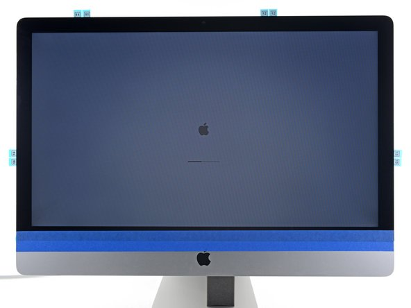 At this time, plug in your iMac, power it on, and test your repair before moving on to actually sealing up the computer. Be sure to check for full functionality of any hardware you removed or disconnected.