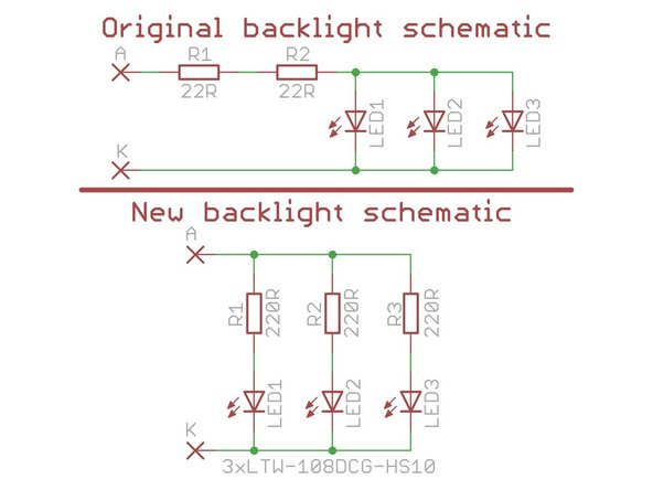 I analyzed original backlight connections and it's apparent why it fails: Chinese comrades who designed the display wanted to save some money and/or space and connected the LEDs in parallel.