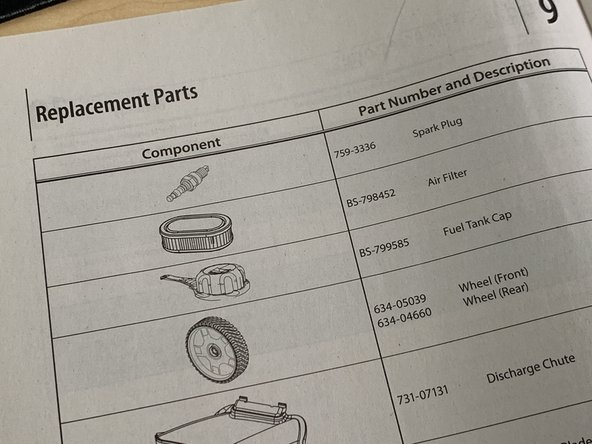 replacement parts in a user manual