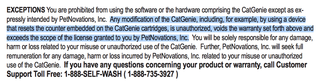 Screenshot of a passage buried in the CatGenie user manual.