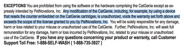 Copyright law in the CatGenie user manual