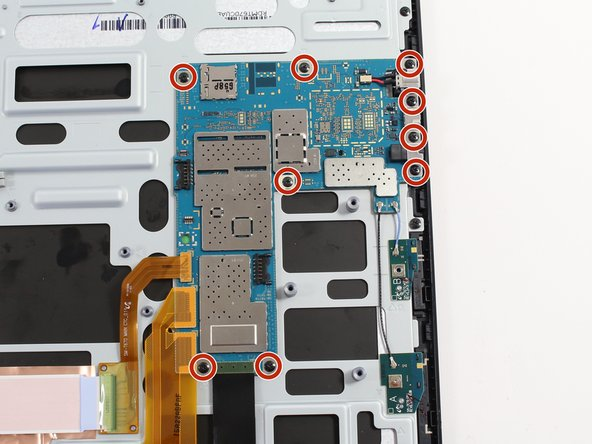 Image 1/3: There is a metal bracket beneath four of the screws on the right side of motherboard. This bracket will also be removed during this step.