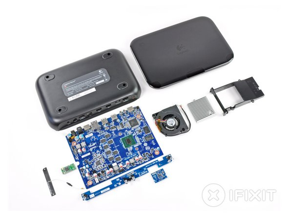 Final layout of all the Logitech Revue teardown parts