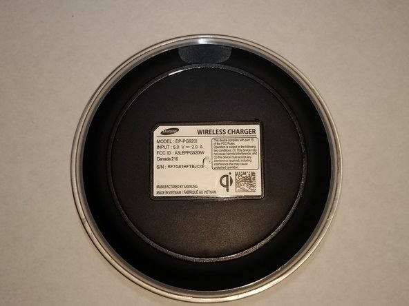 Flip your Wireless Charging Pad over, noting the position of the Qi logo (Bottom right of label)