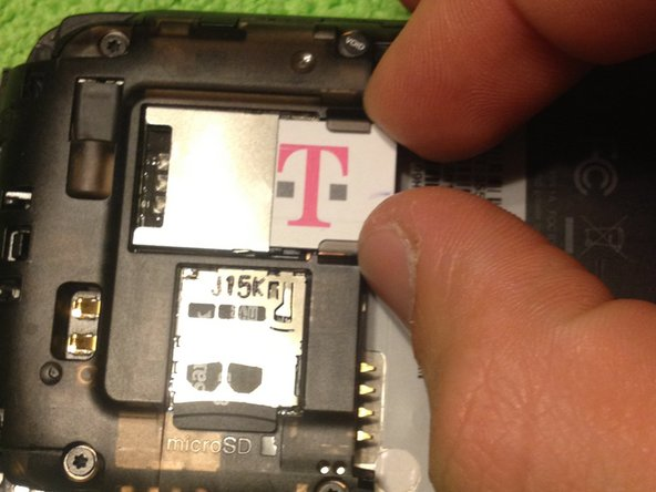 Remove the battery, SIM card and SD card.
