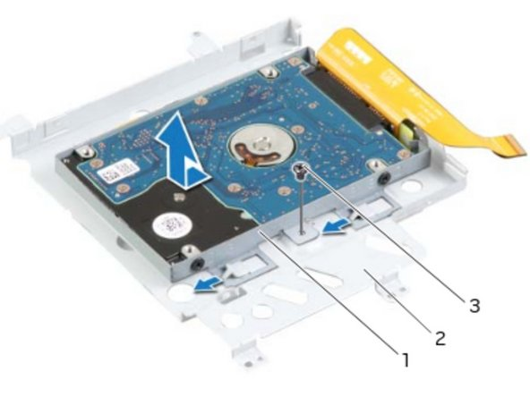Replace the screw that secures the secondary hard-drive assembly to the main  bracket.