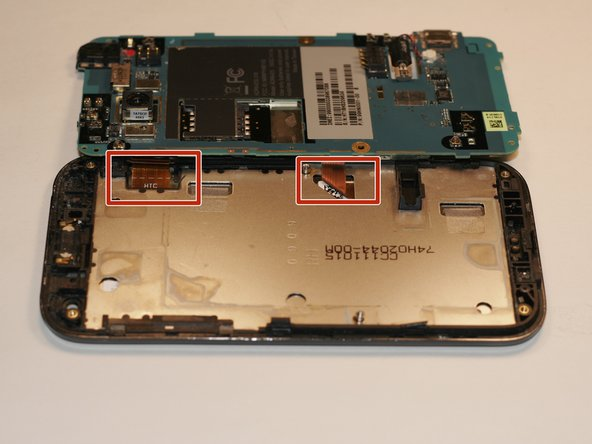 Using tweezers, flip the latch on the ribbon cables connecting the logic board to the screen and display. The screen and display for the HTC Rezound are likely fused to one another, so if you are replacing one  you will likely need to replace both of them.