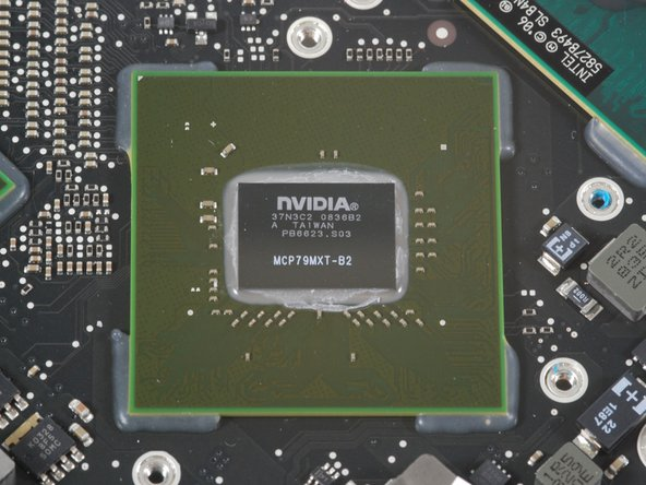 Image 1/2: The first chip is marked 37N3C2 0836B2 PB6623.S03 MCP79MXT-B2. This is the [http://www.nvidia.com/object/product_geforce_9400m_g_us.html|GeForce 9400M], also serving as a northbridge.