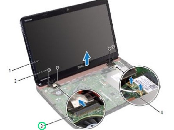 Connect the display cable and touch-screen cable to the connectors on the system board.