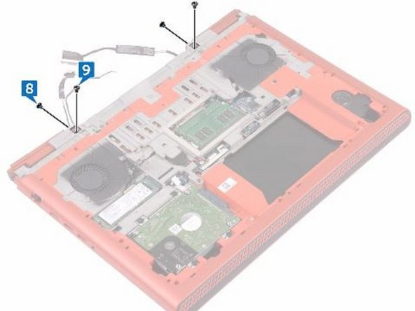 Replace the two screws (M2.5x5) that secure the display assembly to the computer base.