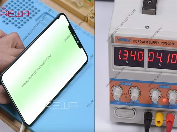 Connect an iPhone XS Max display assembly with the motherboard and connect the battery connector with the DC Power Supply.