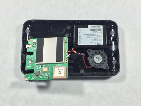 Remove the battery, speaker and motherboard. Place them on a flat surface upside down.