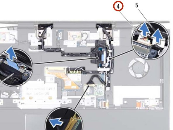 Disconnect the camera cable and infrared cable from the respective system board connectors.