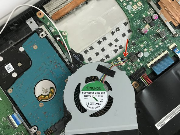 Once you have carefully unplugged the cable, the cooling fan should just come off with ease.