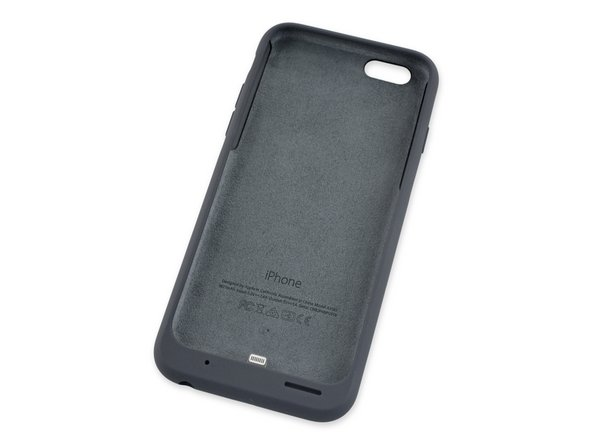 Printed on the soft microfiber lining we spot the battery case's model number: A1585.
