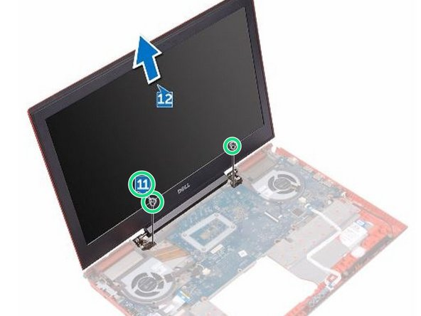 Remove the two screws (M2.5x5) that secure the display assembly to the computer base.