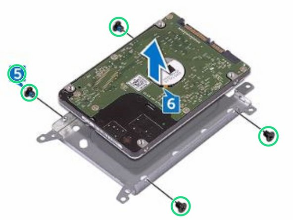 Replace the four screws (M3x3) that secure the hard-drive bracket to the hard drive.