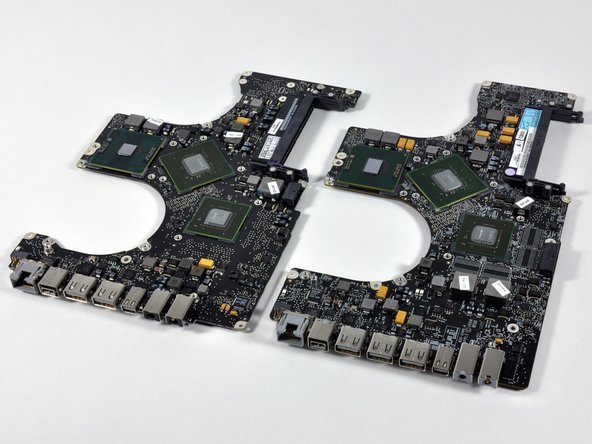 "Left: 15"" Unibody logic board"