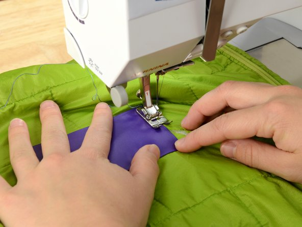 To prevent the insulation from leaking through the stitches, fir your sewing machine with the smallest needle available.