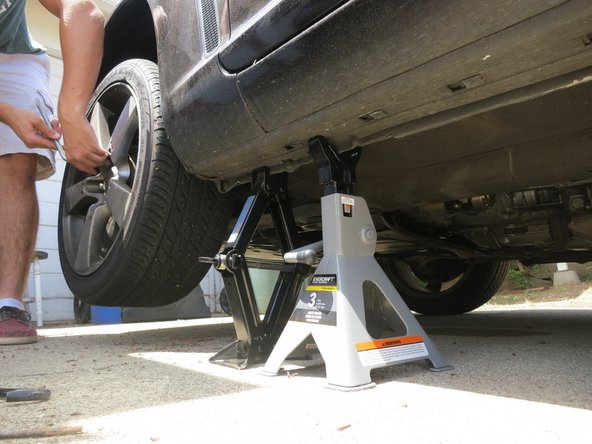 Place the rear wheel on the front of the car and place the front wheel in the rear. Tighten up the lug nuts and your tire rotation is complete.