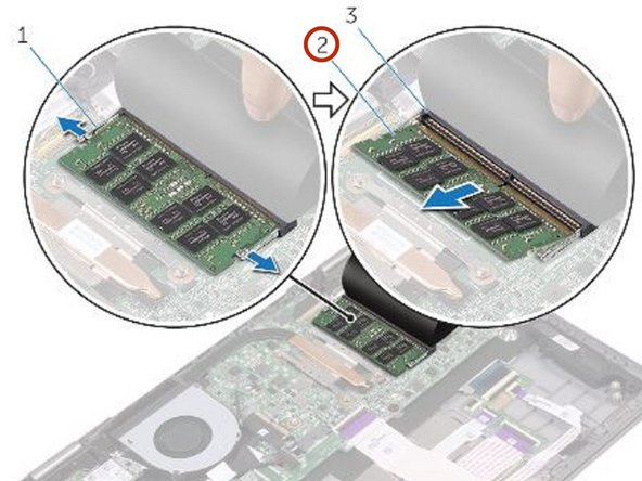 Use your fingertips to carefully spread apart the securing-clips on each end of the memory-module slot until the memory module pops up.
