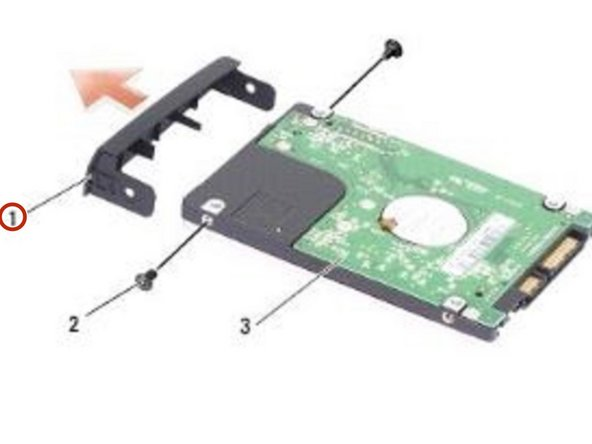 Place the NEW hard drive in the bracket and replace the two M2 x 3-mm screws on either side.