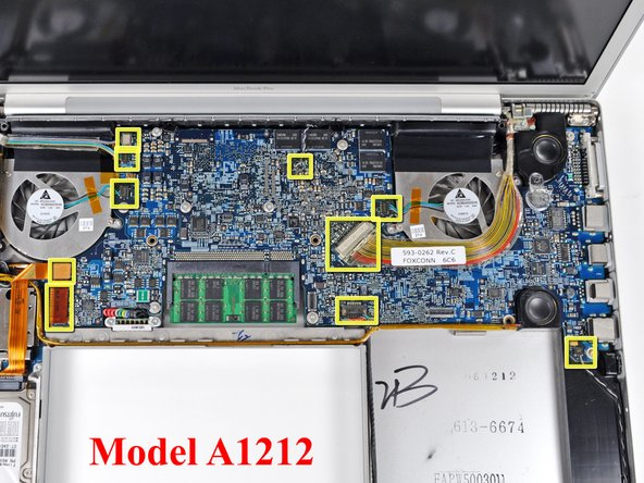 The connectors have different positions for the four MacBook Pro revisions covered by this guide, and their locations are highlighted in the three pictures on this step.