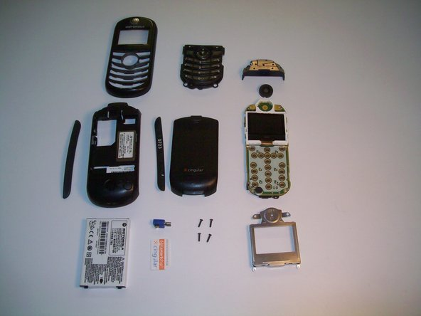 List of Parts: Battery, SIM Card, Vibration mechanism, back cover, Front Case, Back Case, 2x rubber sides, 4x Screws, Antenna, Speaker, Keypad, Metal screen cover.
